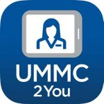 "Blue icon that reads UMMC 2 You with a tablet graphic and a medical worker on the tablet ""screen"""